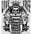 tee graphic skull astronaut man white background vector image