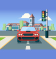 urban car front view city background vector image