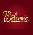 Welcome hand lettering sign vector image vector image