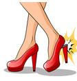 woman broke heel on her red shoes pop art vector image vector image