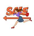 woman run pop art vector image vector image