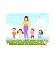 woman standing with kids teaching education vector image