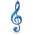 Blue treble clef vector image
