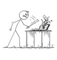 angry man or businessman destroyed computer vector image vector image