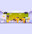 bank office interior with atm cash box and tables vector image