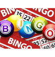 Bingo balls over red bingo cards vector image vector image
