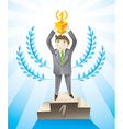 businesman holding cup - leadership concept vector image