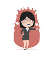 business girl angry standing pointing her finger vector image vector image