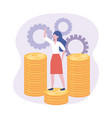 businesswoman in coins with gears digital vector image vector image