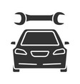 car with spanner glyph icon vector image vector image