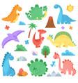 cartoon dinosaur cute colors dino dinosaurs vector image
