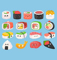 cartoon japanese sushi rolls and shrimp tempura vector image vector image