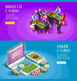 casino isometric banners set vector image