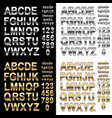 chrome and gold effect alphabet letters numbers vector image vector image
