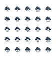 cloud technology and computing icon set in glyph vector image