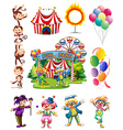 Clowns and other objects from circus vector image vector image