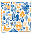 collection of blue and orange ethnic elements the vector image vector image