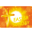 easter sunday card with cross symbol vector image