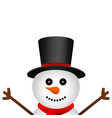 funny christmas snowman in hat isolated on white vector image vector image