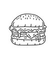 hamburger icon doodle hand drawn or black vector image