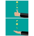 hand of businessman tossing and catches a coin vector image vector image