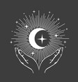 hands and crescent moon with stars esoteric vector image