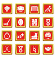hockey icons set red square vector image vector image