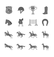 Horse with riders flat icons set vector image vector image