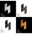isometric set letter h black white gold palette vector image vector image