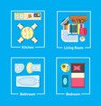 kitchen and living room set vector image