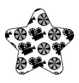 label star with movie camera projector and reel vector image vector image