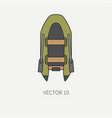 line flat color fisher and camping icon vector image vector image