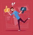 man hold thumb up and down modern video blogger vector image vector image