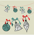 Merry Christmas decoration ribbon baubles vector image vector image