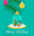 merry christmas snow globe reindeer greeting card vector image