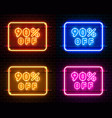 neon 90 off text banner color set night sign vector image vector image