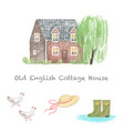 old english cottage house countryside home hand vector image