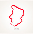 outline map of chad marked with red line vector image vector image