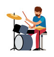 playing drummer professional young man plays vector image