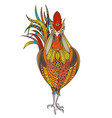 poster with zenart patterned rooster vector image vector image