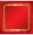 red background with ornament and frame vector image vector image