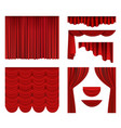 red curtains theater fabric silk decoration for vector image