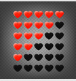 red hearts rating template isolated vector image vector image