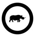 rhinoceros black icon in circle vector image vector image