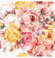 rose pattern with realistic pink and beige roses vector image vector image