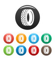 round tire icons set color vector image vector image