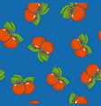 seamless pattern persimmon on blue background vector image vector image