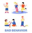 set bad kids behavior banner flat cartoon vector image vector image