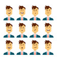 set of male facial emotions bearded man emoji vector image vector image