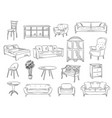 sketches furniture modern interior objects chairs vector image